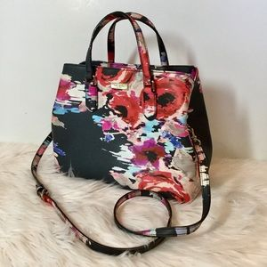 Kate Spade Abstract Watercolor Floral Navy Satchel